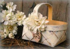 Shabby Chic Flower Girl Baskets   Flower Girl Basket Rustic Wedding Decor Shabby Chic Personalized (YOU ...