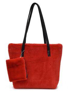 d13230323eb6 New Faux Fur Two Pieces Soft Hand Bag - CheapClothingCity.com  20.95   handbags