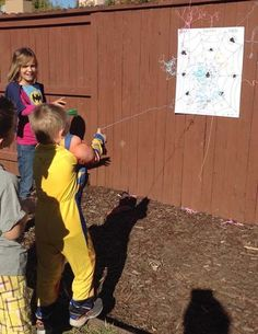 Super Hero Party- I especially love the idea of Silly String as Spiderman's web material