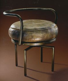 Brass and Leather Chair | Charlotte Perriand
