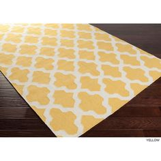 Hand-Woven Kristen Lattice Reverisble Flatweave Wool Rug (8' x 10') (Yellow-(8 ft. x 10 ft.)), Ivory, Size 8' x 10'