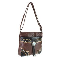 Brown - Turquoise Concho and Tassel Western Messenger Bag Purse