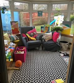 Conservatory playroom - just need to add some kid friendly plants now Conservatory Interiors, Conservatory Kitchen, Conservatory Furniture, Conservatory Playroom Ideas, Kid Friendly Living Room Furniture, Baby Playroom, Living Room Plants, 1950s House, Home Upgrades