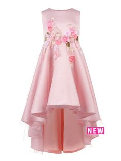 Destined for a flower girl, our Ofressia high-low dress for girls will have her feeling extra special. With its sparkling overlay, dramatic hemline and scattered flower appliqué detailing, there's no doubt it'll have all eyes on her.Material Content: Outer: 100% Nylon Outer:100% Polyester Lining:100% Polyester
