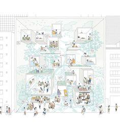 New House Illustration Perspective Ideas Architecture Graphics, Architecture Drawings, Landscape Architecture, Architecture Design, House Landscape, Architecture Presentation Board, Presentation Design, Kindergarten Design, Diagram Design