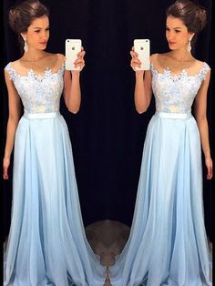 Affordable Scoop Neck Blue Chiffon Tulle Appliques Lace Floor-length Formal Dresses #Formal020101989