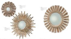 """3 hand-carved whitewashed wood #sunburst #mirrors from Arteriors. Left to right: """"Valence,"""" 11""""; """"Versailles,"""" 20""""; and """"Vendome,"""" 20.5"""" in diameter."""