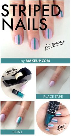 striped nail tutorial for spring #manicure