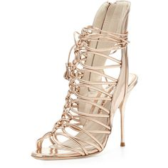 Sophia Webster Lacey Strappy Metallic Sandal (€630) ❤ liked on Polyvore featuring shoes, sandals, heels, high heels, sapatos, rose gold, strappy high heel sandals, metallic heeled sandals, leather sandals and strap sandals
