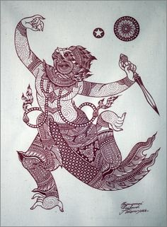 Thai traditional art of Hanuman by printing on by AmornGallery