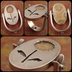 Dandelion | Flip-top ring with fossilized coral | Chuck Domitrovich, Down-to-the-Wire Designs