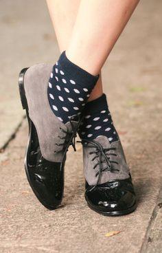 Black shoes and polka dot socks