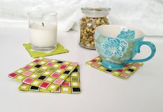Spring Coasters set of 4. Reversible Green Pink by LasmasCreations, $9.95
