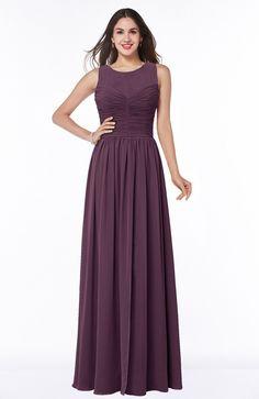 Plum Bridesmaid Dress - Elegant A-line Jewel Chiffon Floor Length Plus Size Maxi | BjsBridal