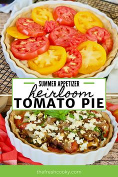 An easy recipe for a classic Heirloom Tomato Pie. Filled with goat cheese, fresh basil, caramelized onions and bacon. Tips for how to make gluten free, vegetarian and vegan. No mayo in this recipe. Makes a great summer appetizer or light main dish. Recipe via @thefreshcooky Zucchini Vegetable, Vegetable Side Dishes, Vegetable Recipes, Best Appetizers, Appetizer Recipes, Party Recipes, Southern Tomato Pie, Heirloom Tomatoes, Vegan Dishes