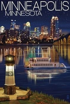 Minneapolis, Minnesota - Skyline at Night - Lantern Press Artwork Giclee Art Print, Gallery Framed, White Wood), Multi Minnesota Home, Minneapolis Minnesota, Minneapolis Skyline, Wisconsin, Michigan, Retro Poster, Twin Cities, Vintage Travel Posters, Nebraska