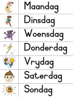KraftiMama, Dae van die Week, Afrikaans Verniet Printables Worksheets For Grade 3, Printable Preschool Worksheets, Printables, Educational Activities For Preschoolers, Letter Activities, Afrikaans Language, All About Me Preschool, Dutch Language, School Posters