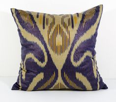 15x15 dark blue cream ikat cushion cover pillow cover by SilkWay