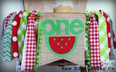 WATERMELON Birthday High Chair Highchair Banner by RawEdgeSewingCo