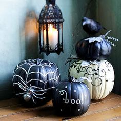 Decorated Halloween pumpkins