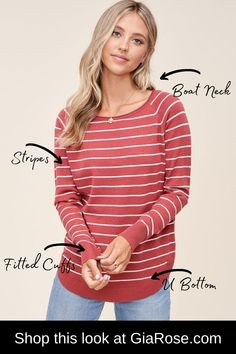 Sweetest Striped Sweater-Boat neck, long sleeve, U shape bottom, pullover, stripe sweater. Trendy Tops For Women, Rose Boutique, Affordable Clothes, T Shirts With Sayings, Cute Tops, Boat Neck, Cool T Shirts, Casual Wear, Women's Fashion