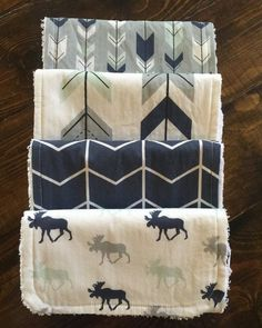 Woodland Moose burp cloths moose arrows modern by TheCoralCottage
