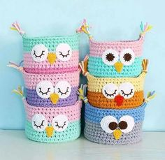 Crochet Owl Basket From TShirt Yarn Tshirt yarn Animals - Crochet baskets Knitted baskets for the house Baby baskets Baskets to store toys Interior basket Baskets for small things. Owl Baskets Cute by Photo by . Basket Weave with spaghetti rope - Page 4 Crochet Owl Basket, Crochet Basket Pattern, Knit Basket, Crochet Patterns, Crochet Ideas, Basket Weaving, Knitting Patterns, Crochet Gifts, Crochet Yarn