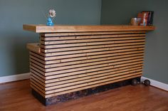 This is a reception desk built and installed for Bridgetown Crossfit and Barbell   Club in Portland, Oregon. It is constructed using a mix of new and reclaimed materials.