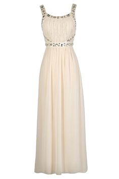 #Lily Boutique - #Lily Boutique You're A Gem Embellished Maxi Dress in Beige - AdoreWe.com