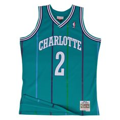 Men s Larry Johnson Charlotte Hornets Mitchell   Ness Teal Throwback  Swingman Jersey da42a1c5a