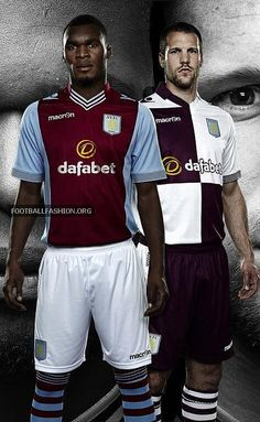 In this handout photographic illustration provided by Aston Villa, Ron Vlaar and Christian Benteke of Aston Villa wear the new Macron home and away kits for the season. Aston Villa and Macron. Soccer Kits, Football Kits, Sport Football, Aston Villa Players, Aston Villa Fc, Patriots Team, Football Fashion, Best Club, West Midlands