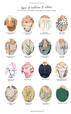 Guide to Vintage Collars and Necklines*You can find the Guide to Vintage Sleeves here.Do you shop vintage? Here's a good reference infographic for collars and necklines found on vintage garments.You can find the Guide to Vintage Collars and. Fur Vintage, Vintage Mode, Looks Vintage, Blouse Vintage, Vintage Style, Vintage Ideas, Vintage Diy, Vintage Inspired, Vintage Apron