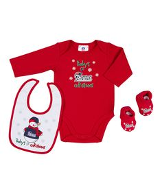 Red New England Patriots Christmas Bodysuit Set