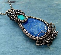 Lapis Turquoise and Bronze Necklace named by MandatoJewelryDesign