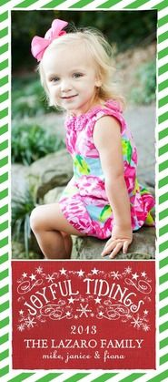 Show off your little one this holiday with this green and white striped photo card. #TinyPrintsCheer