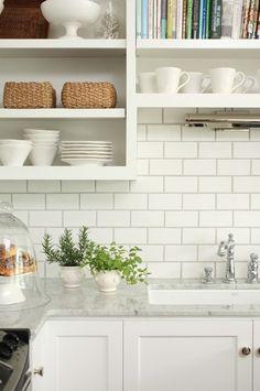 White kitchen:  open shelves, marble countertops, subway tile . . .