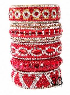 Red Stacked Bangle Collection✤