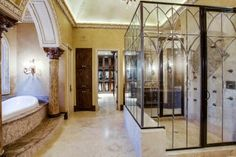 Gothic style master bath & shower enclosure...