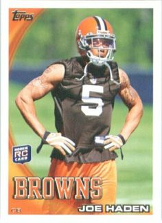2010 Topps NFL Football Card # 169 Joe Haden RC - Cleveland Browns ( Rookie Card) NFL Trading Card in a Protective ScrewDown Case! by Topps. $3.95. This is just one of the 1000s of great sports cards offered. Card is shipped in a protective screwdown case to preserve its condition!. Check out other listings for other stars from this popular set!. NOTE: Stock Photo Used. Contact Seller with any Questions. Great looking 2010 Topps NFL Football Card!!. 2010 Topps NFL Football...