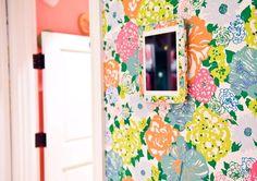 Lilly walls, Lilly mirror, splash of melon.