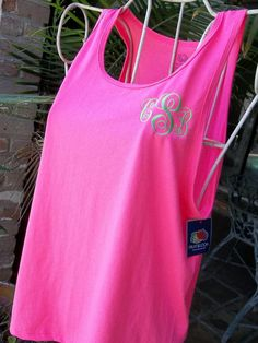 Hey, I found this really awesome Etsy listing at https://www.etsy.com/listing/150663605/monogrammed-hot-pink-tank-top-for-ladies