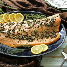 Roasted Salmon with Capers is elegant enough for dinner guests. But easy enough to be a weekday recipe. Only 5 minutes to the oven.