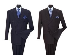 New Men's 2 Pc Double Breasted Stripes Fashion Suit Navy Black Grey Style 5901 #MilanoModa #DoubleBreasted