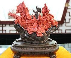 Chinese Taiwan Pure Natural Handmade Aka coral Auspicious Big Ruyi Boy Statue