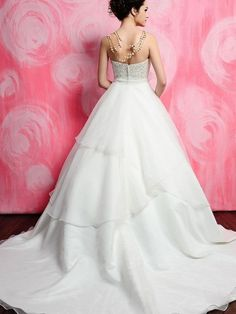 (NO.0257374)2012 Style Ball Gown Strapless Embroidery  Sleeveless Court Trains Organza Wedding Dresses For Brides