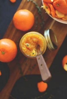 Fresh orange jam / Апельсиновый джем С вечера замочить 100 г натуральной медовой кураги. А на утро очистить апельсины от кожуры, промыть и отжать воду из кураги. Все поместить в блендер и перемолоть. Важно что бы курага была сладкая, а апельсины свежие, сочные и вкусные. Если вам не хватает итоговой сладости - добавьте финики или мёд. + можно добавить тимьян