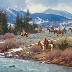 Martin Grelle is a master at capturing the essence of the Native Americans and the cowboys of the old west. Giclee canvas and paper art prints are available. Native American Warrior, Native American Artwork, Native American Artists, American Indian Art, Native American History, Native American Indians, West Art, Cowboy Art, Le Far West