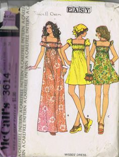 "VINTAGE ONE PIECE DRESS SEWING PATTERN MCCALLS 3614 SIZE 12 BUST 34 HIP 36"" CUT"