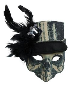 Madame Steampunk Plastic Face Mask with Attached Hat Headband Costume Accessory