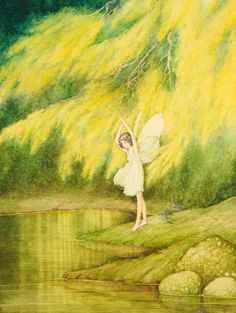 View The Wattle Fairy by Ida Rentoul Outhwaite on artnet. Browse upcoming and past auction lots by Ida Rentoul Outhwaite. Art And Illustration, Arte Elemental, Fairy Paintings, Value In Art, Kobold, Fable, Vintage Fairies, Beautiful Fairies, Australian Art